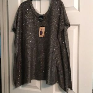 NWT Noelle gray and sequined poncho o/s